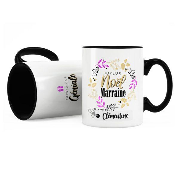Cadeau noël marraine | Idée cadeau mug joyeux noël avec prénom