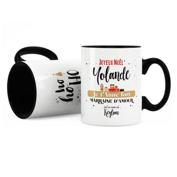 Cadeau noël marraine | Idée cadeau mug on t'aime avec prénom