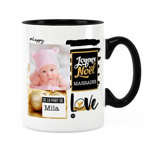 Cadeau marraine pour noël | Idée cadeau mug prénom et photo