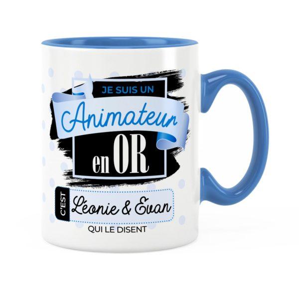 Cadeau animateur | Idée cadeau mug prénom animateur en or