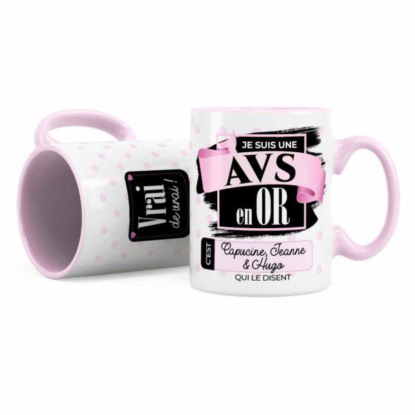 Cadeau avs   Idée cadeau mug avec prénom pour avs en or