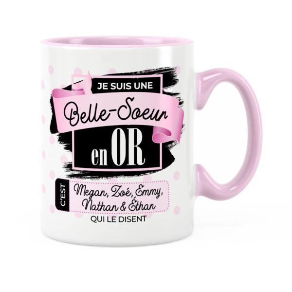 Cadeau belle-soeur | Idée cadeau mug prénom belle-soeur en or