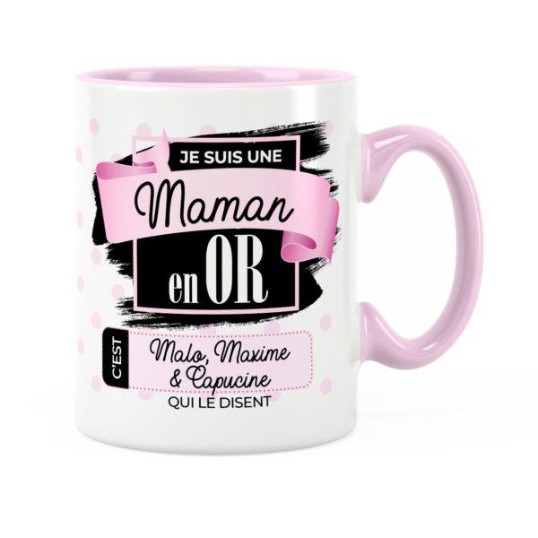 Cadeau maman | Idée cadeau mug prénom une maman en or