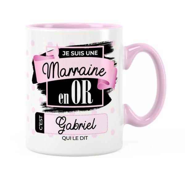 Cadeau marraine | Idée cadeau mug prénom marraine en or