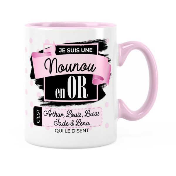 Cadeau nounou | Idée cadeau de mug prénom nounou en or