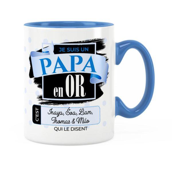 Cadeau papa | Idée cadeau de mug avec prénom papa en or