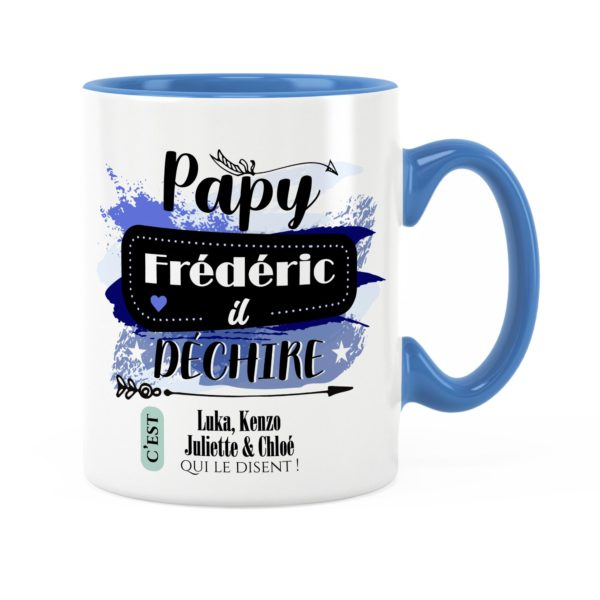 Cadeau papy | Idée cadeau de mug prénom papy il déchire