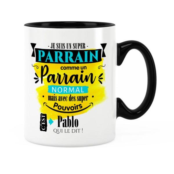Cadeau parrain | Idée cadeau mug parrain super pouvoirs