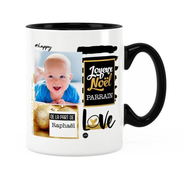 Cadeau parrain pour noël | Idée cadeau mug prénom et photo