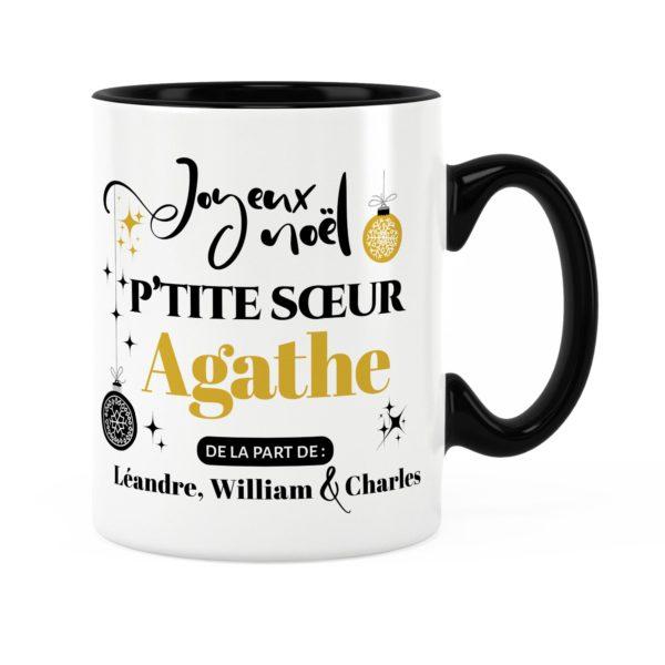 Cadeau petite-sœur | Idée cadeau mug joyeux noël avec prénom