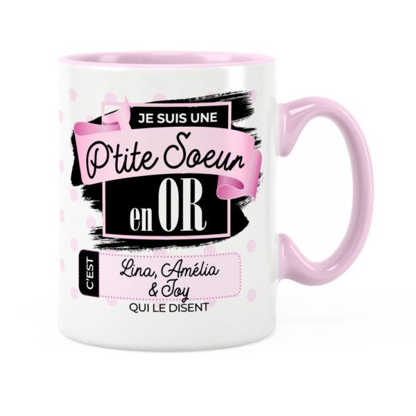 Cadeau petite-sœur | Idée cadeau mug prénom sœur en or